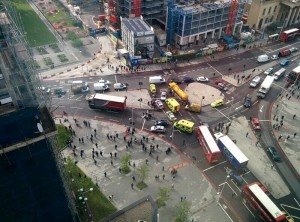 Emergency services attend to a crash at the Elephant and Castle roundabout in London on 13th May 2014. Photo by Nyron Gopeesingh, used with permission.