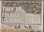 London SE1 2014-05-23 Newspaper - They're finally listening p1