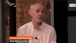 TfL in discussion over £17m 'cycle superhighway' - London Live screenshot of Donnachadh
