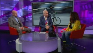 Screenshot of Channel4 interview of Nicola Branch and LTDA by Jon Snow