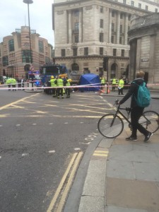 Scene of the crash at Bank in The City of London on Monday 22 June 2015. The 26 year old woman was killed. (photo by PJ Crittenden)