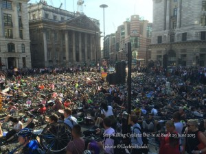 About 600 people took part in the Die-In at Bank junction in The City of London (photo by @ElectricPedals, used with permission)